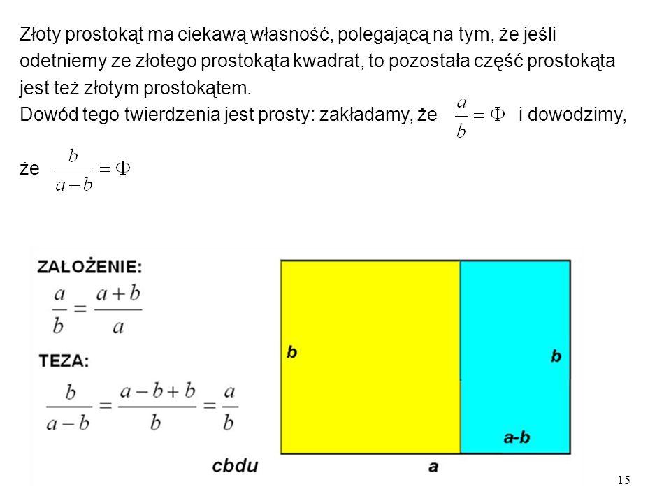 15 Złoty prostokąt ma ciekawą własność, polegającą na tym, że jeśli odetniemy ze złotego prostokąta kwadrat, to pozostała część prostokąta jest też złotym prostokątem.