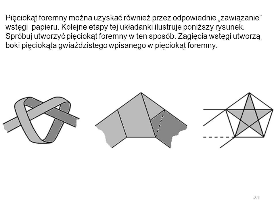 """21 Pięciokąt foremny można uzyskać również przez odpowiednie """"zawiązanie wstęgi papieru."""