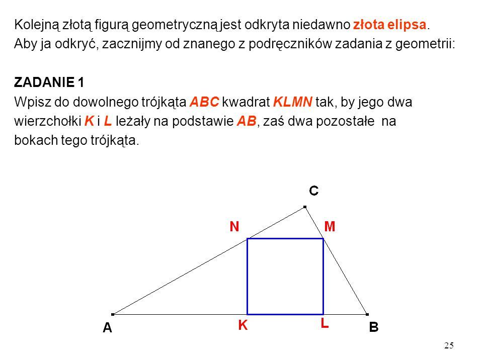 25 Kolejną złotą figurą geometryczną jest odkryta niedawno złota elipsa.