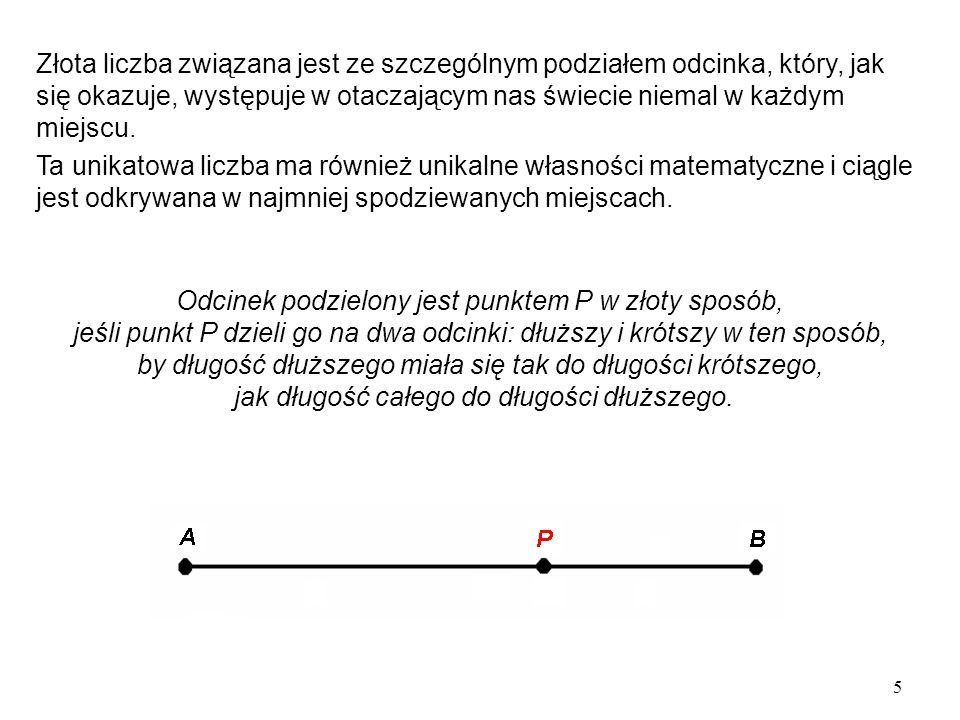 6 Przyjmijmy w tym odcinku: x = AP, oraz PB = 1