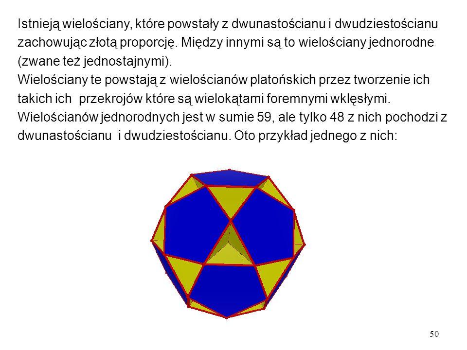 50 Istnieją wielościany, które powstały z dwunastościanu i dwudziestościanu zachowując złotą proporcję.