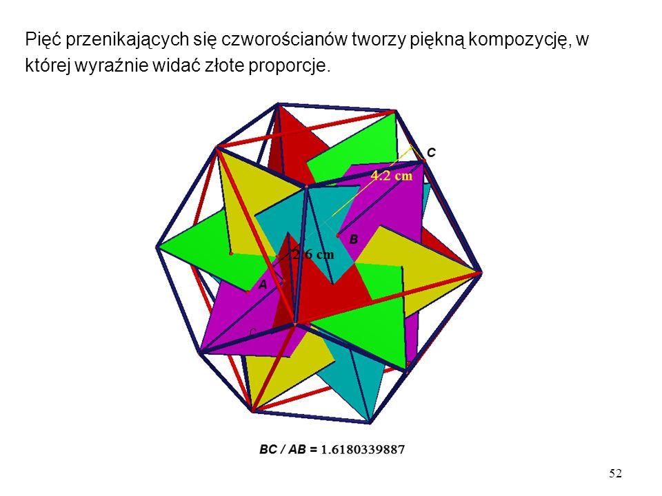 52 Pięć przenikających się czworościanów tworzy piękną kompozycję, w której wyraźnie widać złote proporcje.