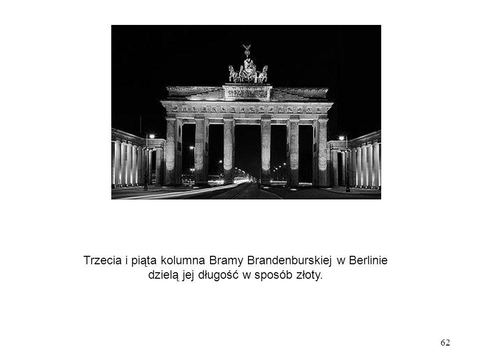 62 Trzecia i piąta kolumna Bramy Brandenburskiej w Berlinie dzielą jej długość w sposób złoty.