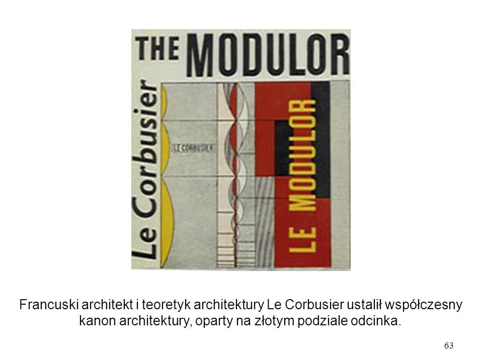 63 Francuski architekt i teoretyk architektury Le Corbusier ustalił współczesny kanon architektury, oparty na złotym podziale odcinka.