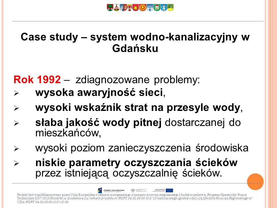 Case study – system wodno-kanalizacyjny w Gdańsku Rok 1992 – zdiagnozowane problemy:  wysoka awaryjność sieci,  wysoki wskaźnik strat na przesyle wody,  słaba jakość wody pitnej dostarczanej do mieszkańców,  wysoki poziom zanieczyszczenia środowiska  niskie parametry oczyszczania ścieków przez istniejącą oczyszczalnię ścieków.