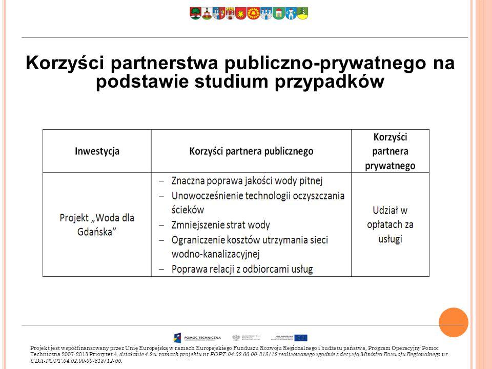 Korzyści partnerstwa publiczno-prywatnego na podstawie studium przypadków Projekt jest współfinansowany przez Unię Europejską w ramach Europejskiego Funduszu Rozwoju Regionalnego i budżetu państwa, Program Operacyjny Pomoc Techniczna 2007-2013 Priorytet 4, działanie 4.2 w ramach projektu nr POPT.04.02.00-00-318/12 realizowanego zgodnie z decyzją Ministra Rozwoju Regionalnego nr UDA-POPT.04.02.00-00-318/12-00.
