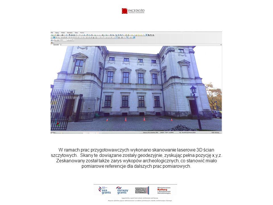 W ten sposób georeferencje bazowe z budynku nadawały atrybuty współrzędnych badanym obiektom, znajdującym się w obrębie wykopu, a rejestrowanym techniką fotogrametrii naziemnej 3D.
