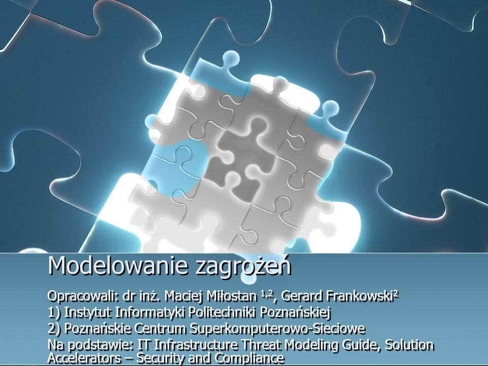 Modelowanie zagrożeń Opracowali: dr inż. Maciej Miłostan 1,2, Gerard Frankowski 2 1) Instytut Informatyki Politechniki Poznańskiej 2) Poznańskie Centr