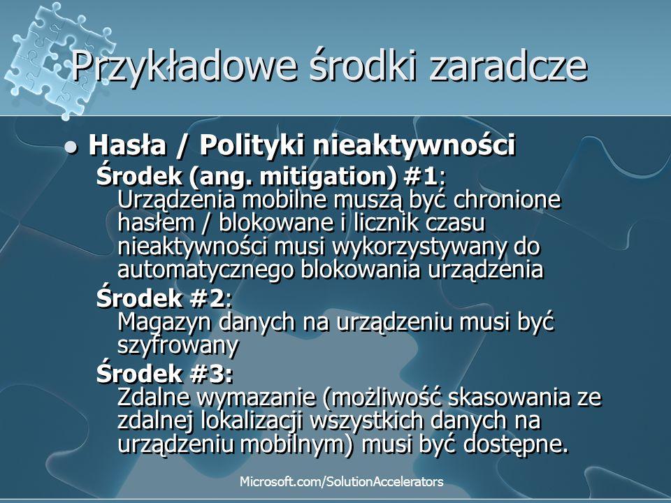 Przykładowe środki zaradcze Hasła / Polityki nieaktywności Środek (ang. mitigation) #1: Urządzenia mobilne muszą być chronione hasłem / blokowane i li