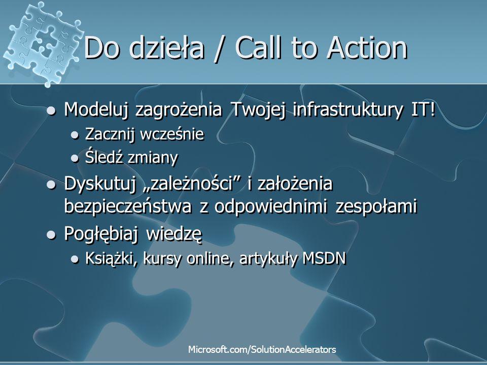 """Do dzieła / Call to Action Modeluj zagrożenia Twojej infrastruktury IT! Zacznij wcześnie Śledź zmiany Dyskutuj """"zależności"""" i założenia bezpieczeństwa"""