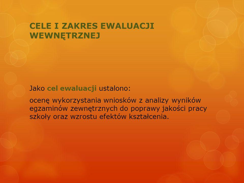 CELE I ZAKRES EWALUACJI WEWNĘTRZNEJ W planowaniu ewaluacji wewnętrznej sformułowano następujące pytania kluczowe: 1.