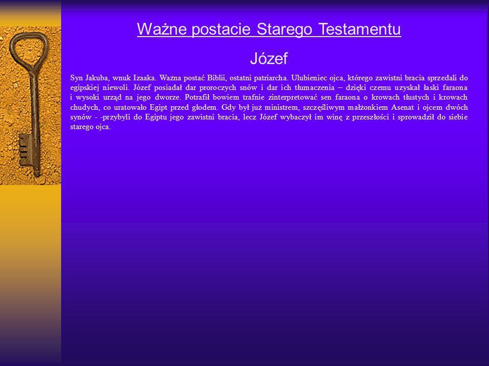 Ważne postacie Starego Testamentu Józef Syn Jakuba, wnuk Izaaka. Ważna postać Biblii, ostatni patriarcha. Ulubieniec ojca, którego zawistni bracia spr