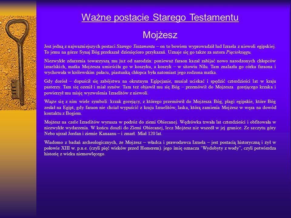 Ważne postacie Starego Testamentu Mojżesz Jest jedną z najważniejszych postaci Starego Testamentu – on to bowiem wyprowadził lud Izraela z niewoli egi