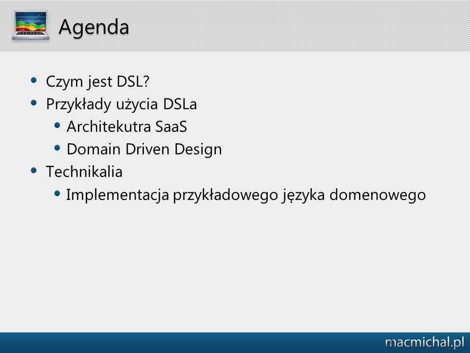 Agenda Czym jest DSL? Przykłady użycia DSLa Architekutra SaaS Domain Driven Design Technikalia Implementacja przykładowego języka domenowego