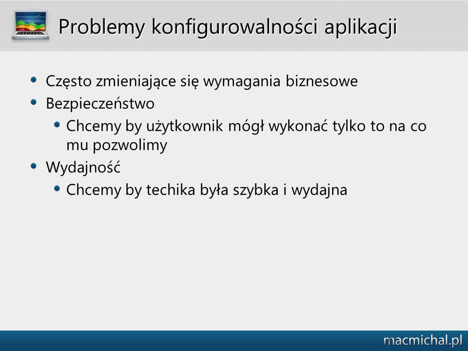 Problemy konfigurowalności aplikacji Prostota Chcemy by użytkownik mógł bardzo szybko nauczyć się rekonfigurować system (nie zawsze).