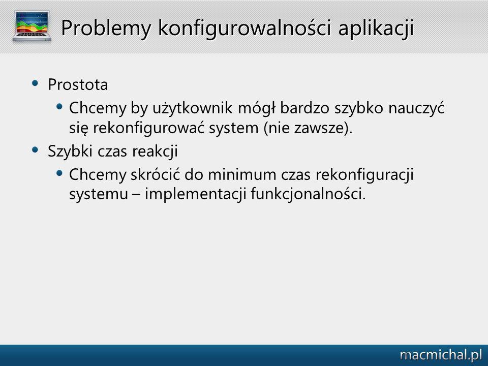 Problemy konfigurowalności aplikacji Prostota Chcemy by użytkownik mógł bardzo szybko nauczyć się rekonfigurować system (nie zawsze). Szybki czas reak