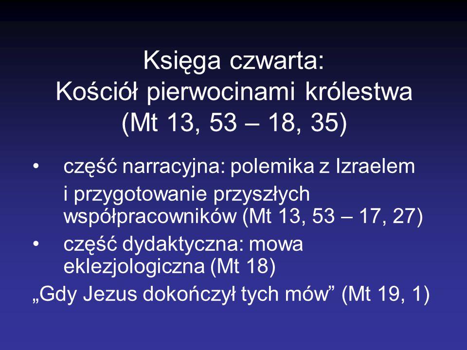 Księga czwarta: Kościół pierwocinami królestwa (Mt 13, 53 – 18, 35) część narracyjna: polemika z Izraelem i przygotowanie przyszłych współpracowników
