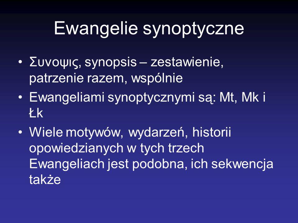 Ewangelie synoptyczne Συνοψις, synopsis – zestawienie, patrzenie razem, wspólnie Ewangeliami synoptycznymi są: Mt, Mk i Łk Wiele motywów, wydarzeń, hi