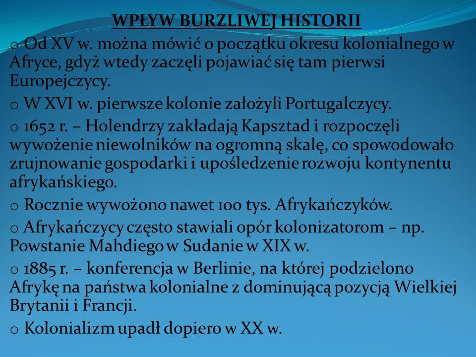 WPŁYW BURZLIWEJ HISTORII o Od XV w.
