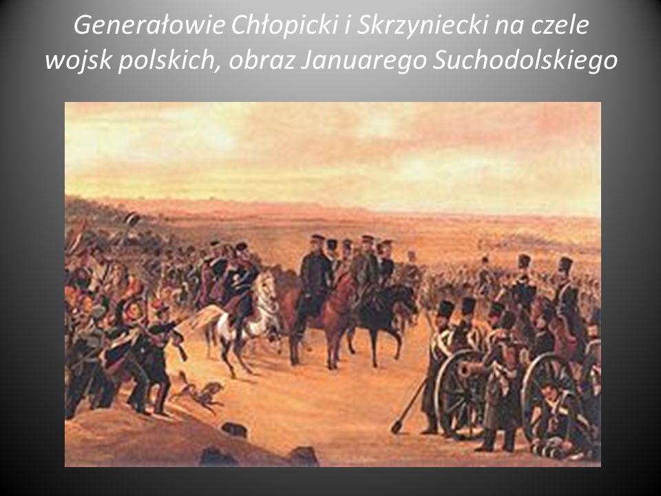 Generałowie Chłopicki i Skrzyniecki na czele wojsk polskich, obraz Januarego Suchodolskiego