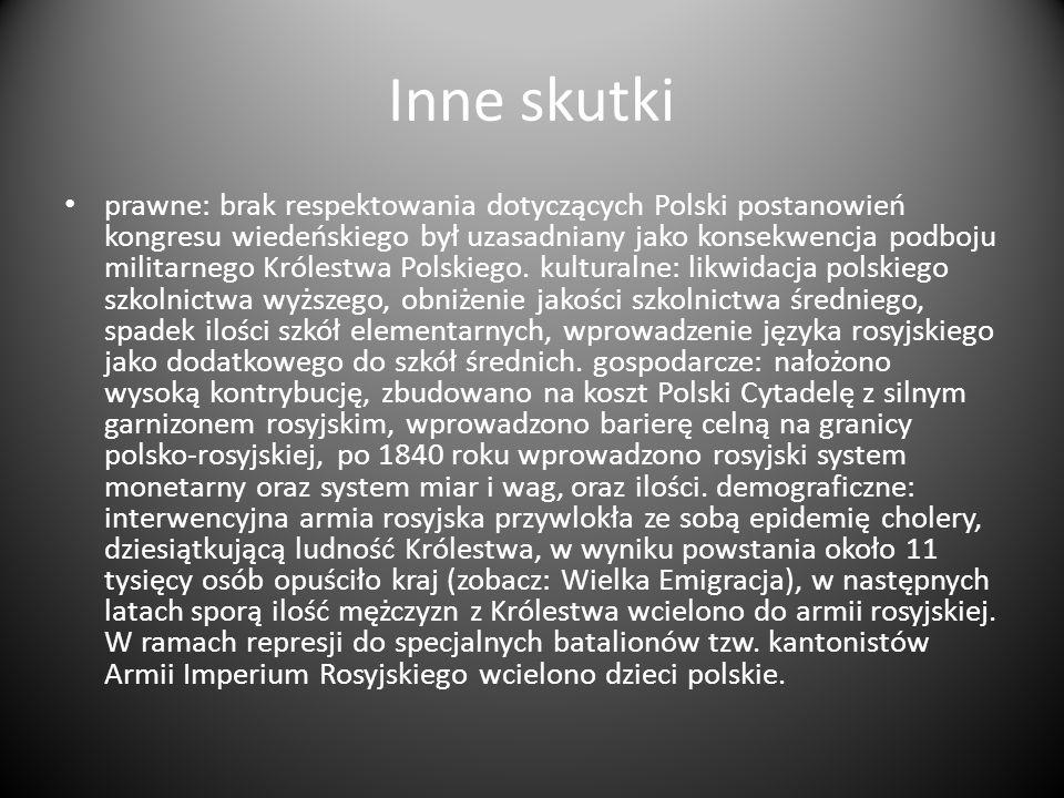 Inne skutki prawne: brak respektowania dotyczących Polski postanowień kongresu wiedeńskiego był uzasadniany jako konsekwencja podboju militarnego Król