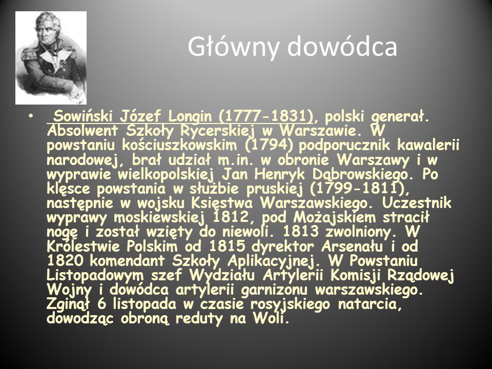Główny dowódca Sowiński Józef Longin (1777-1831), polski generał. Absolwent Szkoły Rycerskiej w Warszawie. W powstaniu kościuszkowskim (1794) podporuc
