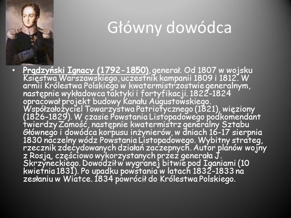 Główny dowódca Prądzyński Ignacy (1792-1850), generał. Od 1807 w wojsku Księstwa Warszawskiego, uczestnik kampanii 1809 i 1812. W armii Królestwa Pols