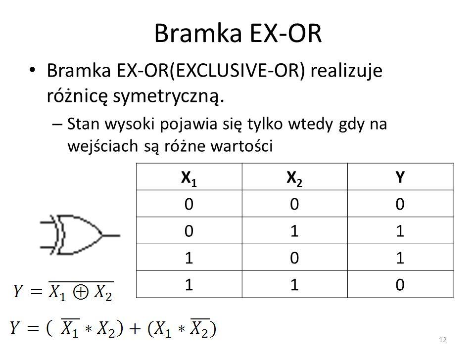 Bramka EX-OR Bramka EX-OR(EXCLUSIVE-OR) realizuje różnicę symetryczną. – Stan wysoki pojawia się tylko wtedy gdy na wejściach są różne wartości X1X1 X