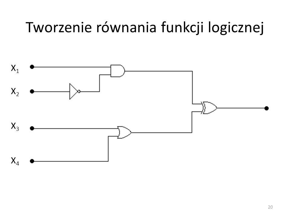 Tworzenie równania funkcji logicznej X1X2X3X4X1X2X3X4 20