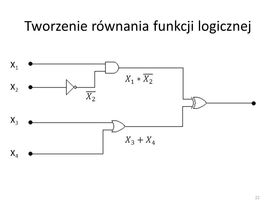 Tworzenie równania funkcji logicznej X1X2X3X4X1X2X3X4 22