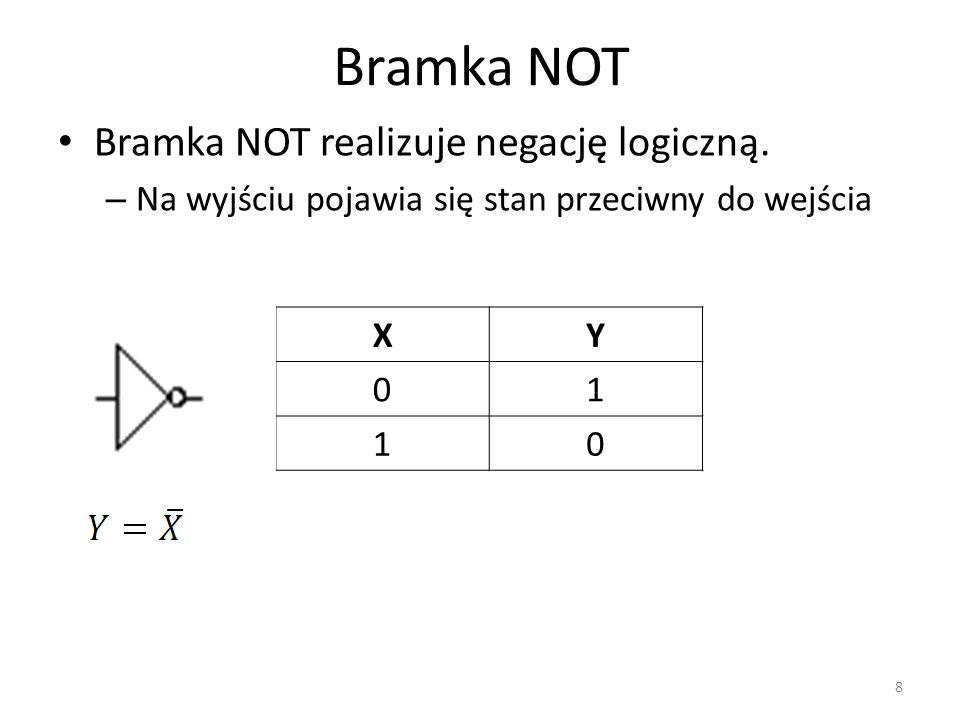 Bramka NOT Bramka NOT realizuje negację logiczną. – Na wyjściu pojawia się stan przeciwny do wejścia XY 01 10 8