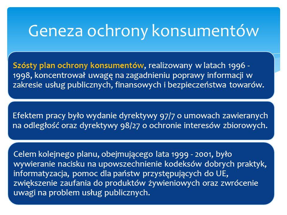 Szósty plan ochrony konsumentów, realizowany w latach 1996 - 1998, koncentrował uwagę na zagadnieniu poprawy informacji w zakresie usług publicznych,