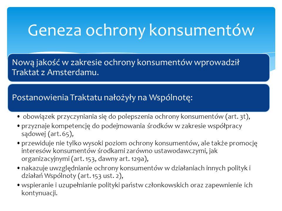 Nową jakość w zakresie ochrony konsumentów wprowadził Traktat z Amsterdamu. Postanowienia Traktatu nałożyły na Wspólnotę: obowiązek przyczyniania się