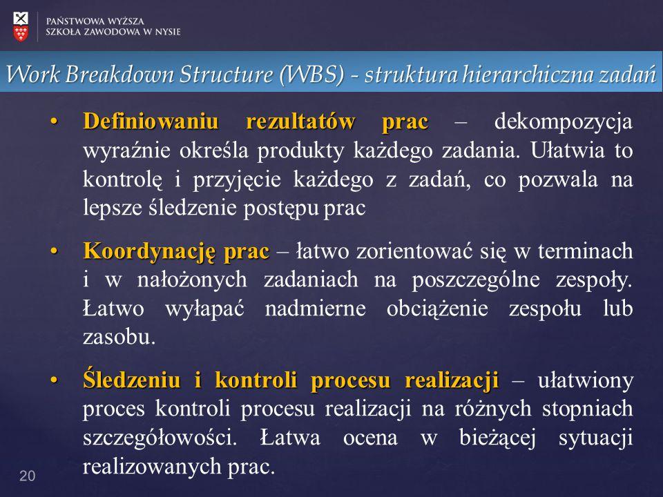 Work Breakdown Structure (WBS) - struktura hierarchiczna zadań 20 DefiniowaniuDefiniowaniu rezultatów prac prac – dekompozycja wyraźnie określa produk
