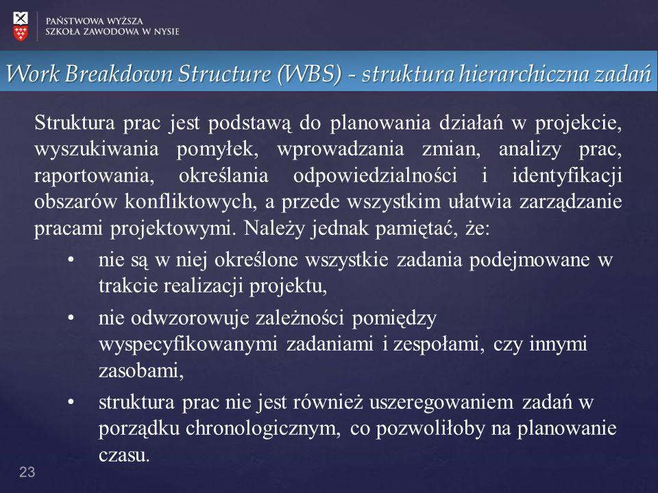 Work Breakdown Structure (WBS) - struktura hierarchiczna zadań 23 Struktura prac jest podstawą do planowania działań w projekcie, wyszukiwania pomyłek