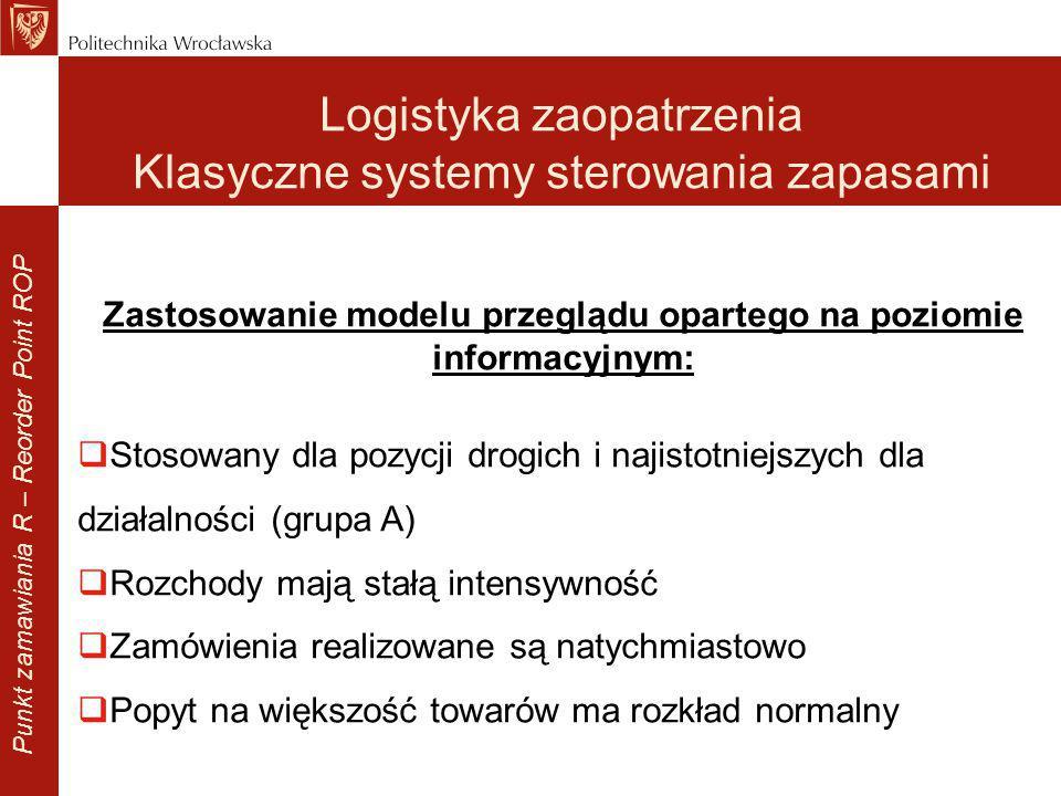 Zastosowanie modelu przeglądu opartego na poziomie informacyjnym:  Stosowany dla pozycji drogich i najistotniejszych dla działalności (grupa A)  Roz