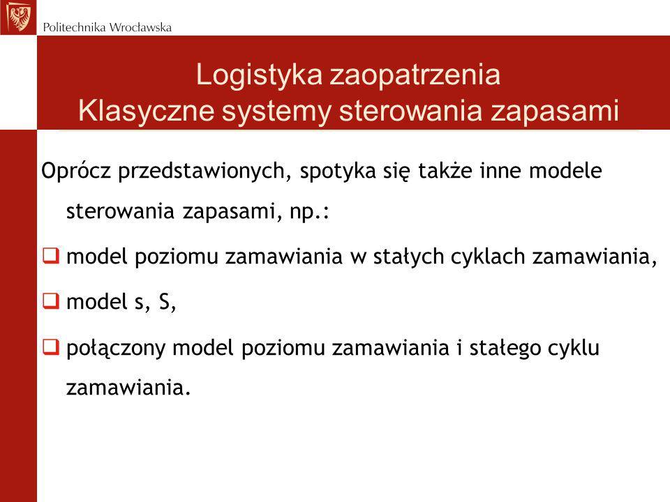 Oprócz przedstawionych, spotyka się także inne modele sterowania zapasami, np.:  model poziomu zamawiania w stałych cyklach zamawiania,  model s, S,