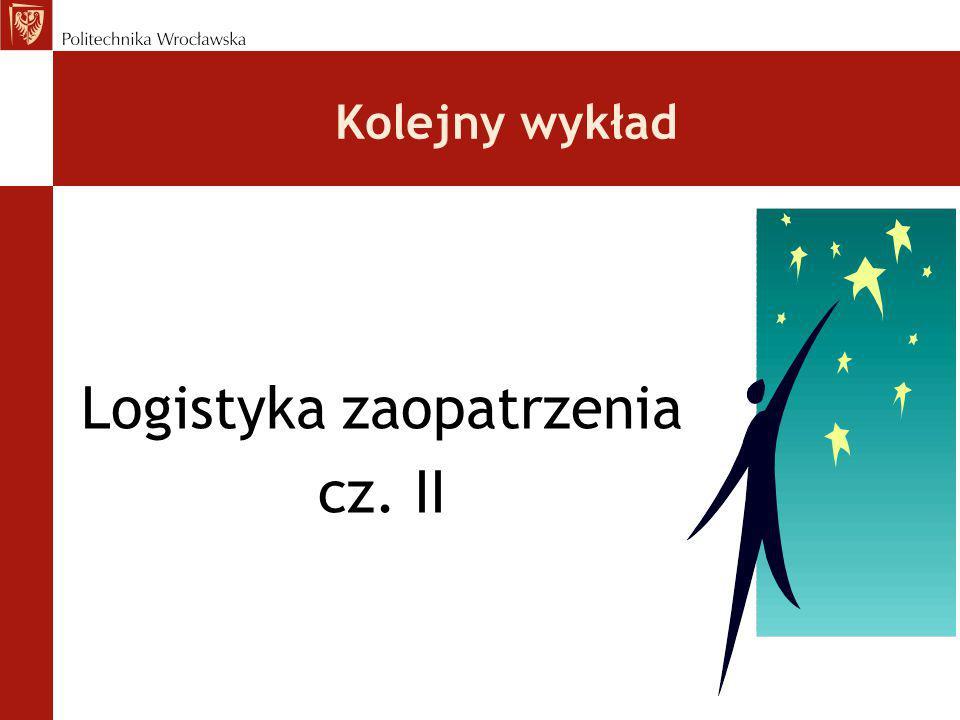 Kolejny wykład Logistyka zaopatrzenia cz. II