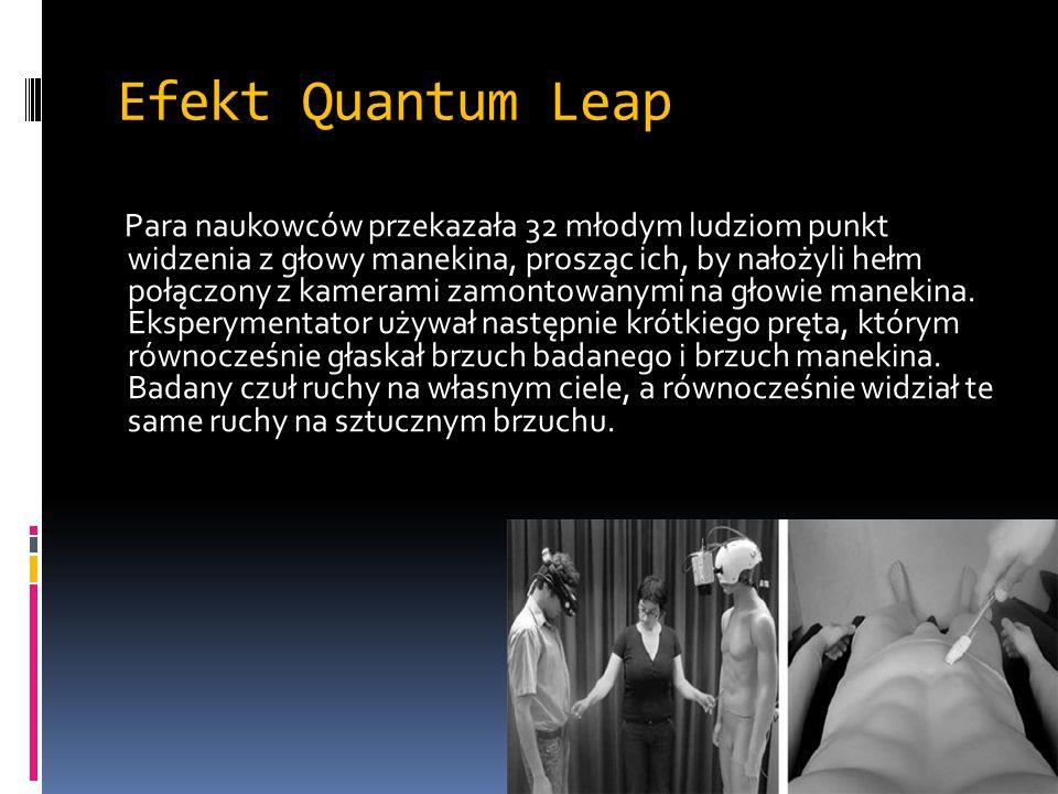 Efekt Quantum Leap Para naukowców przekazała 32 młodym ludziom punkt widzenia z głowy manekina, prosząc ich, by nałożyli hełm połączony z kamerami zam