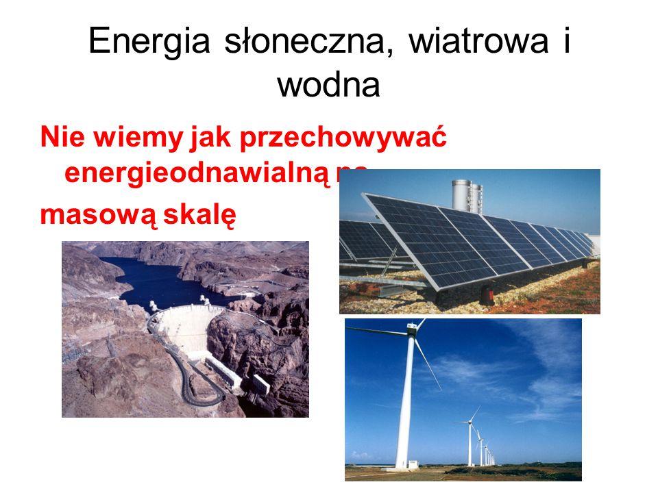 Energia słoneczna, wiatrowa i wodna Nie wiemy jak przechowywać energieodnawialną na masową skalę
