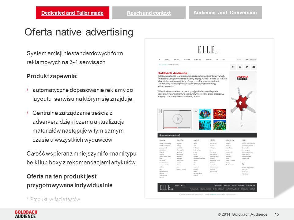 © 2014 Goldbach Audience15 Oferta native advertising Dedicated and Tailor madeReach and context Audience and Conversion System emisji niestandardowych form reklamowych na 3-4 serwisach Produkt zapewnia: /automatyczne dopasowanie reklamy do layoutu serwisu na którym się znajduje.