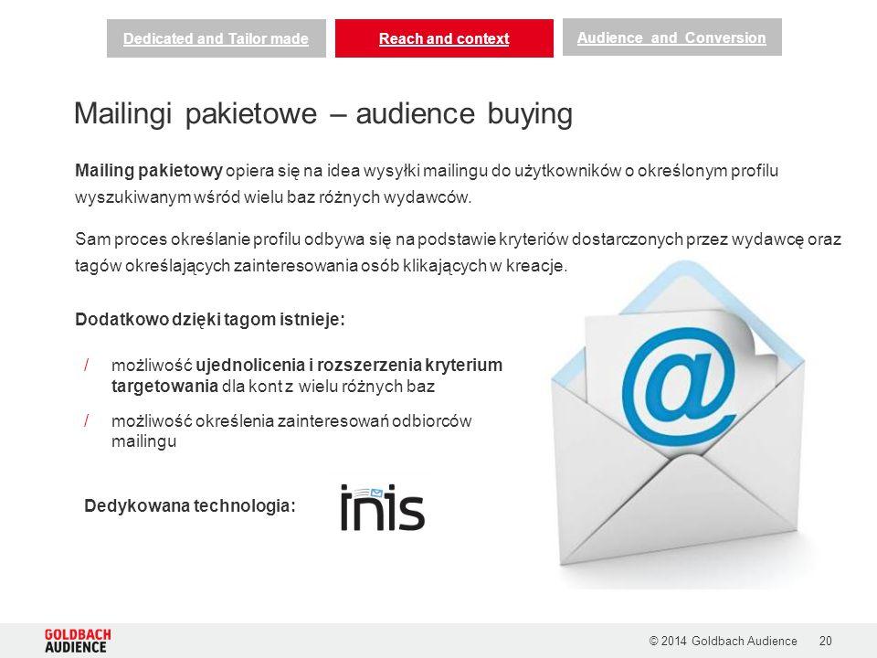 /możliwość ujednolicenia i rozszerzenia kryterium targetowania dla kont z wielu różnych baz /możliwość określenia zainteresowań odbiorców mailingu Dedykowana technologia: © 2014 Goldbach Audience20 Mailing pakietowy opiera się na idea wysyłki mailingu do użytkowników o określonym profilu wyszukiwanym wśród wielu baz różnych wydawców.