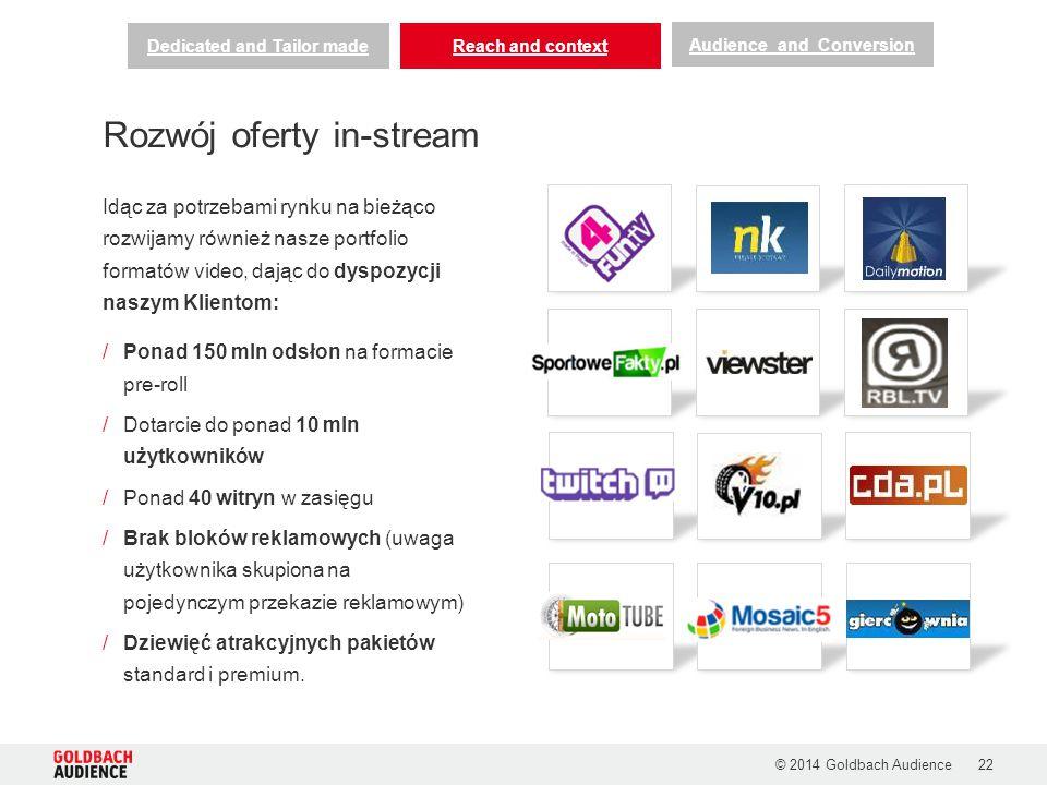 Idąc za potrzebami rynku na bieżąco rozwijamy również nasze portfolio formatów video, dając do dyspozycji naszym Klientom: /Ponad 150 mln odsłon na formacie pre-roll /Dotarcie do ponad 10 mln użytkowników /Ponad 40 witryn w zasięgu /Brak bloków reklamowych (uwaga użytkownika skupiona na pojedynczym przekazie reklamowym) /Dziewięć atrakcyjnych pakietów standard i premium.