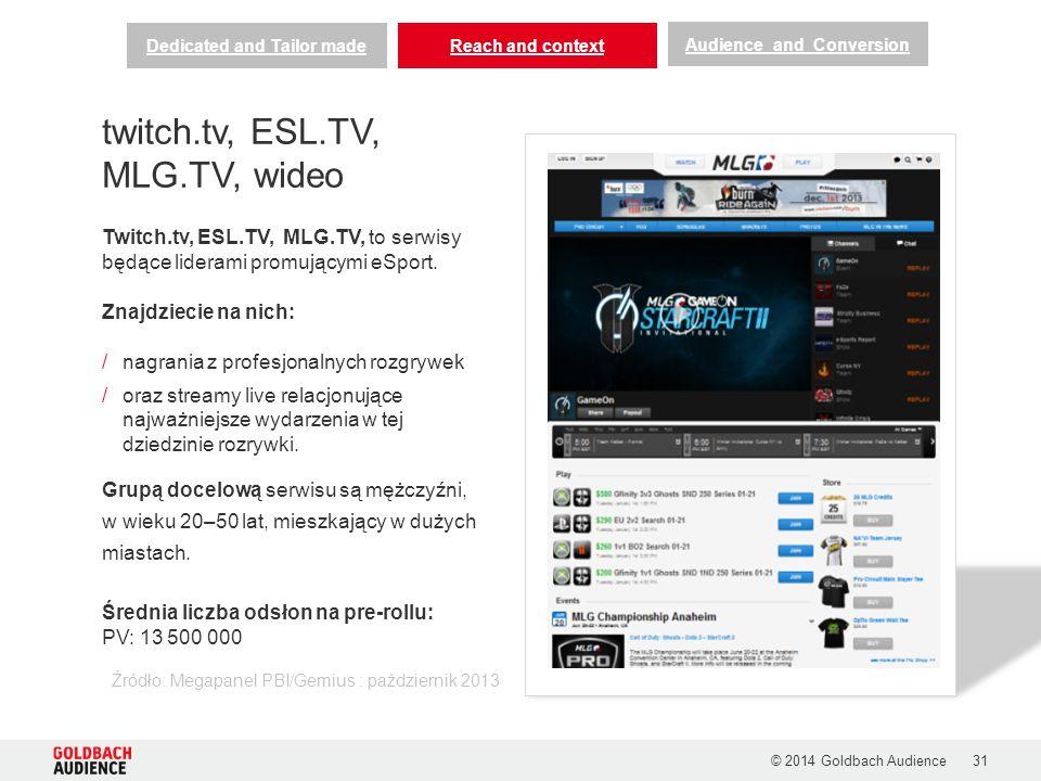 © 2014 Goldbach Audience31 Twitch.tv, ESL.TV, MLG.TV, to serwisy będące liderami promującymi eSport. Znajdziecie na nich: /nagrania z profesjonalnych