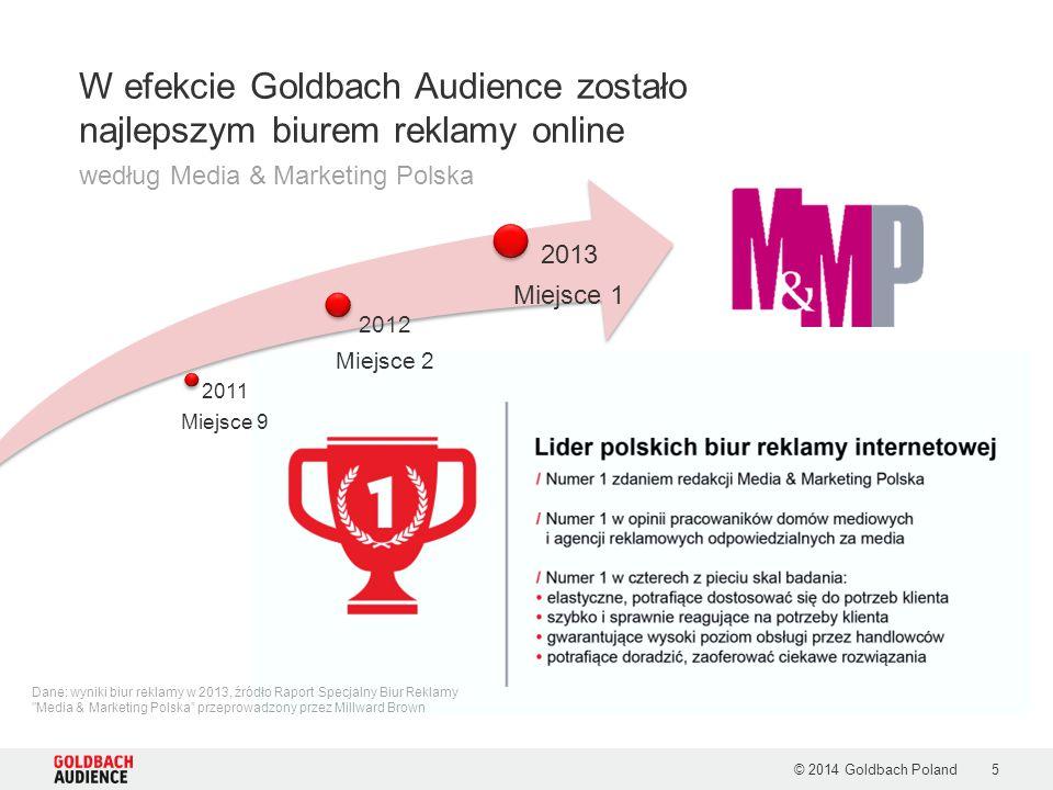 2011 Miejsce 9 2012 Miejsce 2 2013 Miejsce 1 © 2014 Goldbach Poland5 W efekcie Goldbach Audience zostało najlepszym biurem reklamy online według Media