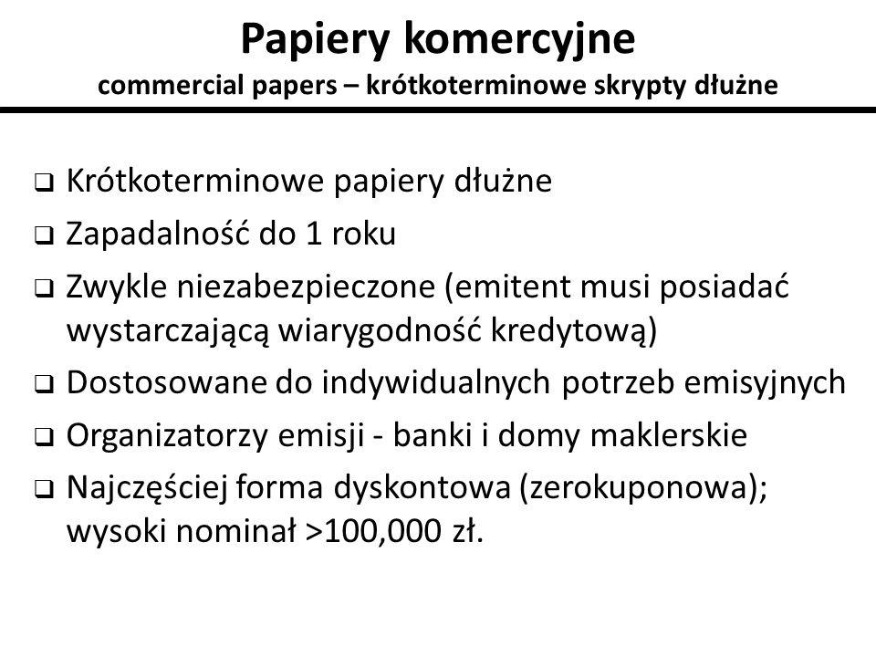 Papiery komercyjne commercial papers – krótkoterminowe skrypty dłużne  Krótkoterminowe papiery dłużne  Zapadalność do 1 roku  Zwykle niezabezpieczo