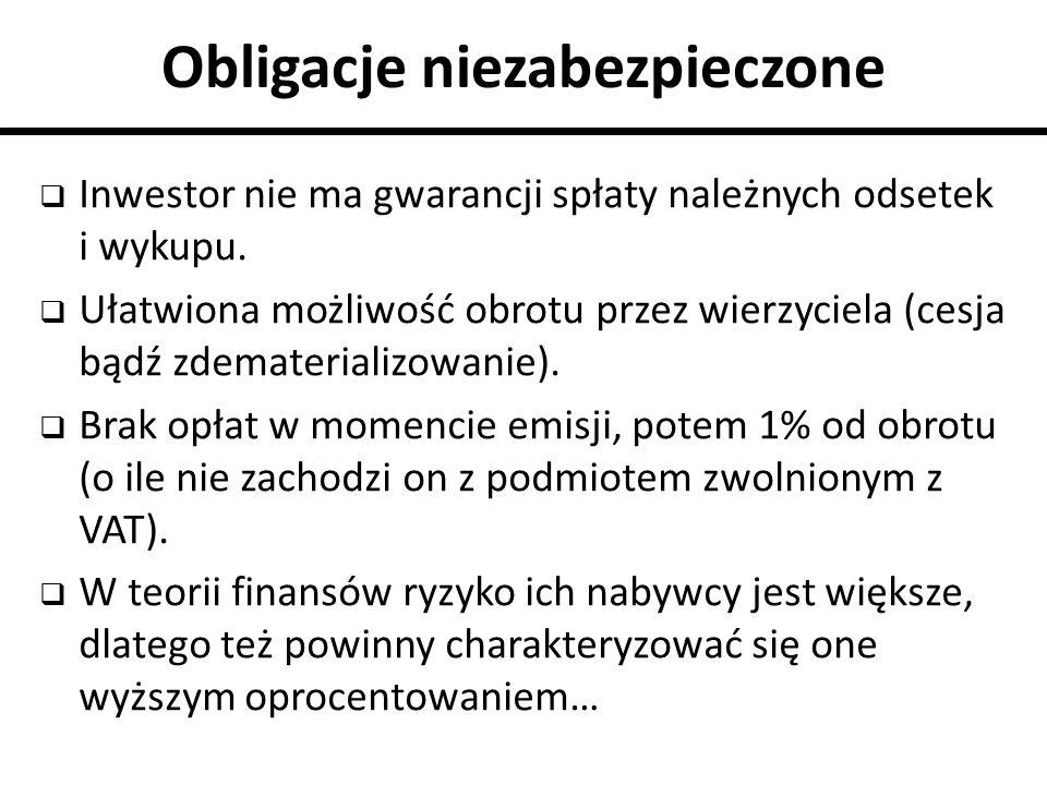 Obligacje niezabezpieczone  Inwestor nie ma gwarancji spłaty należnych odsetek i wykupu.  Ułatwiona możliwość obrotu przez wierzyciela (cesja bądź z
