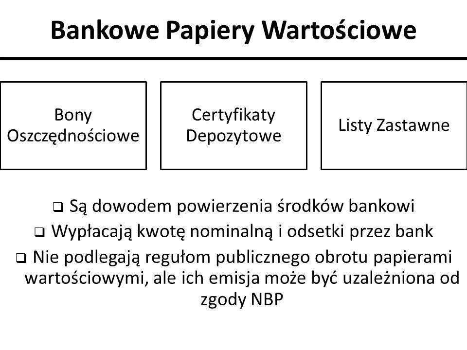 Bankowe Papiery Wartościowe  Są dowodem powierzenia środków bankowi  Wypłacają kwotę nominalną i odsetki przez bank  Nie podlegają regułom publiczn