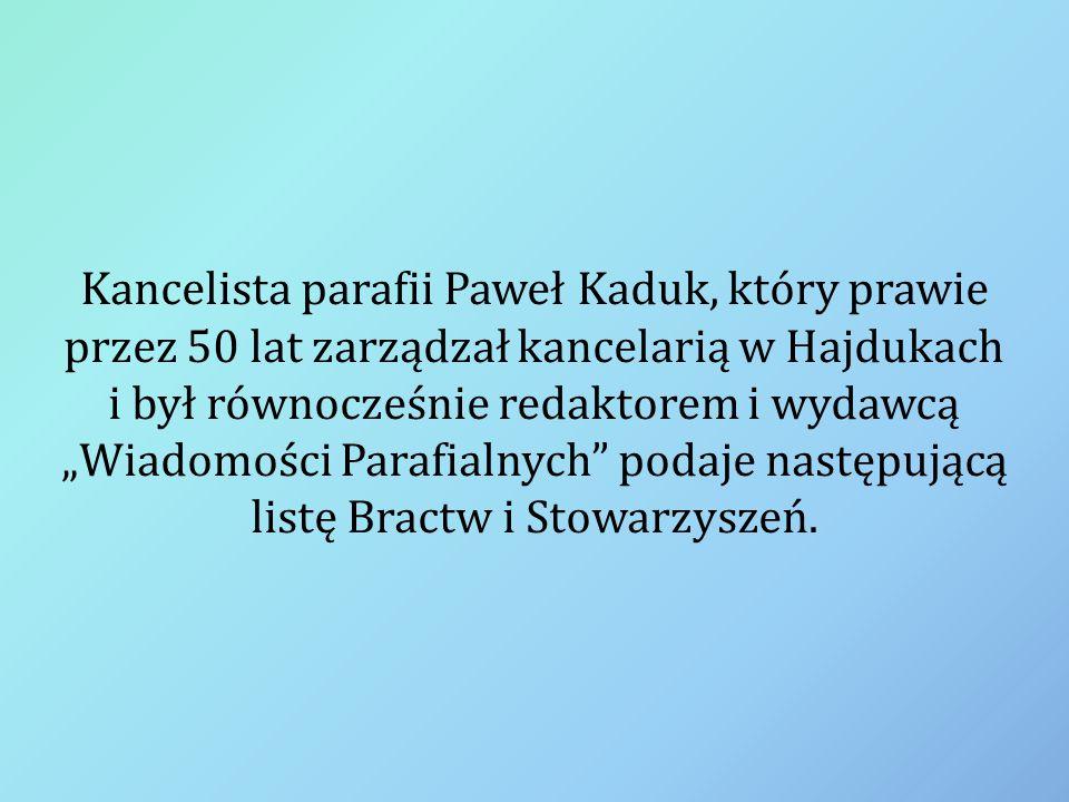 """Kancelista parafii Paweł Kaduk, który prawie przez 50 lat zarządzał kancelarią w Hajdukach i był równocześnie redaktorem i wydawcą """"Wiadomości Parafia"""