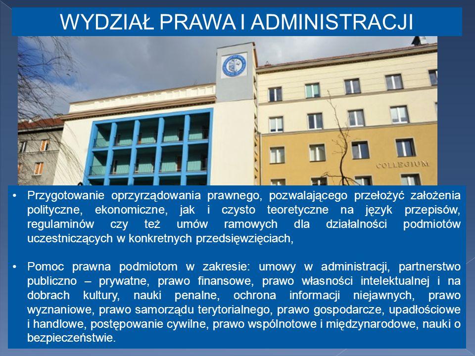 Przygotowanie oprzyrządowania prawnego, pozwalającego przełożyć założenia polityczne, ekonomiczne, jak i czysto teoretyczne na język przepisów, regulaminów czy też umów ramowych dla działalności podmiotów uczestniczących w konkretnych przedsięwzięciach, Pomoc prawna podmiotom w zakresie: umowy w administracji, partnerstwo publiczno – prywatne, prawo finansowe, prawo własności intelektualnej i na dobrach kultury, nauki penalne, ochrona informacji niejawnych, prawo wyznaniowe, prawo samorządu terytorialnego, prawo gospodarcze, upadłościowe i handlowe, postępowanie cywilne, prawo wspólnotowe i międzynarodowe, nauki o bezpieczeństwie.
